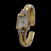 14k Gold Wyler Bracelet Watch with Diamonds
