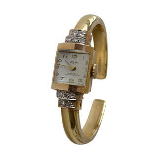 14k Gold Wyler Bracelet Watch with Diamonds