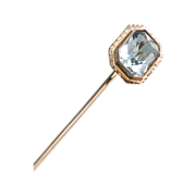 Aquamarine and 18k White Gold Stick Pin