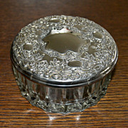 Glass and Silver Plate Vanity Jewelry or Trinket Box - Red Tag Sale Item