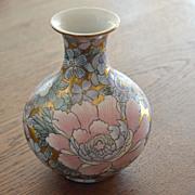 Vintage Oriental Vase Flowers andf Gold Macau