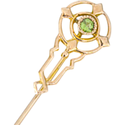 Green Gemstone 14k Gold Stick Pin