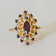 Faux Ruby and Diamond Gold Plated Cocktail Ring
