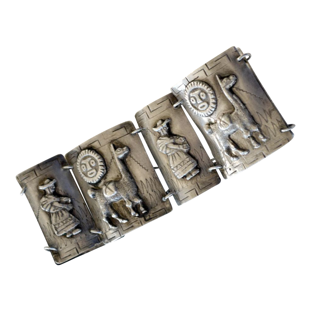 Wide Panel 900 Silver Bracelet