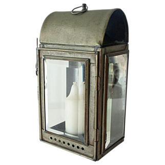 Old Candle Lantern Heavy Bevel Glass