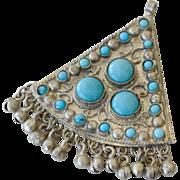 Pendant Glass Turquoise Stones