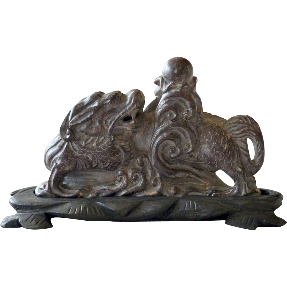 Chinese Carved Stone Foo Dog or Lion