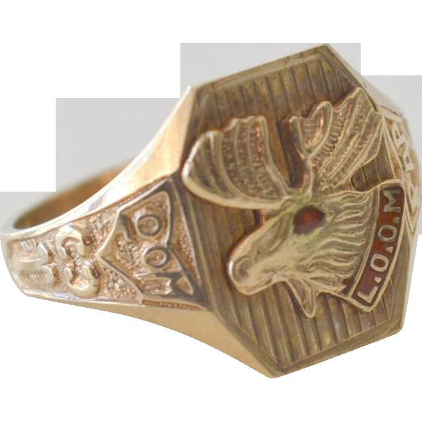 Loyal Order of Moose Ring 10k Gold