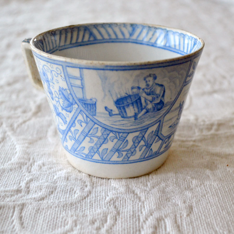 Blue and White Cup with Basket Weaver