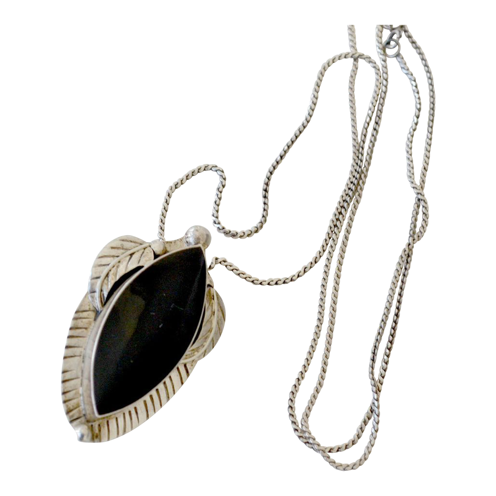 Sterling Silver Onyx Leaf Pendant Pin Necklace