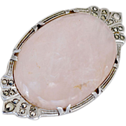 Large Sterling Rose Quartz Brooch Marcasite