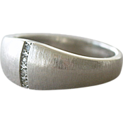 White Gold 14K Ring Band with Diamonds 4.7 Grams