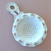 Porcelain Tea Strainer with Roses Germany - Red Tag Sale Item