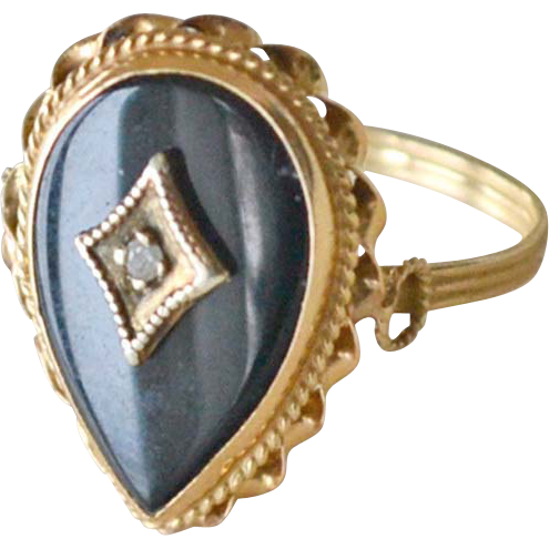 Onyx and Diamond 14K Yellow Gold Ring