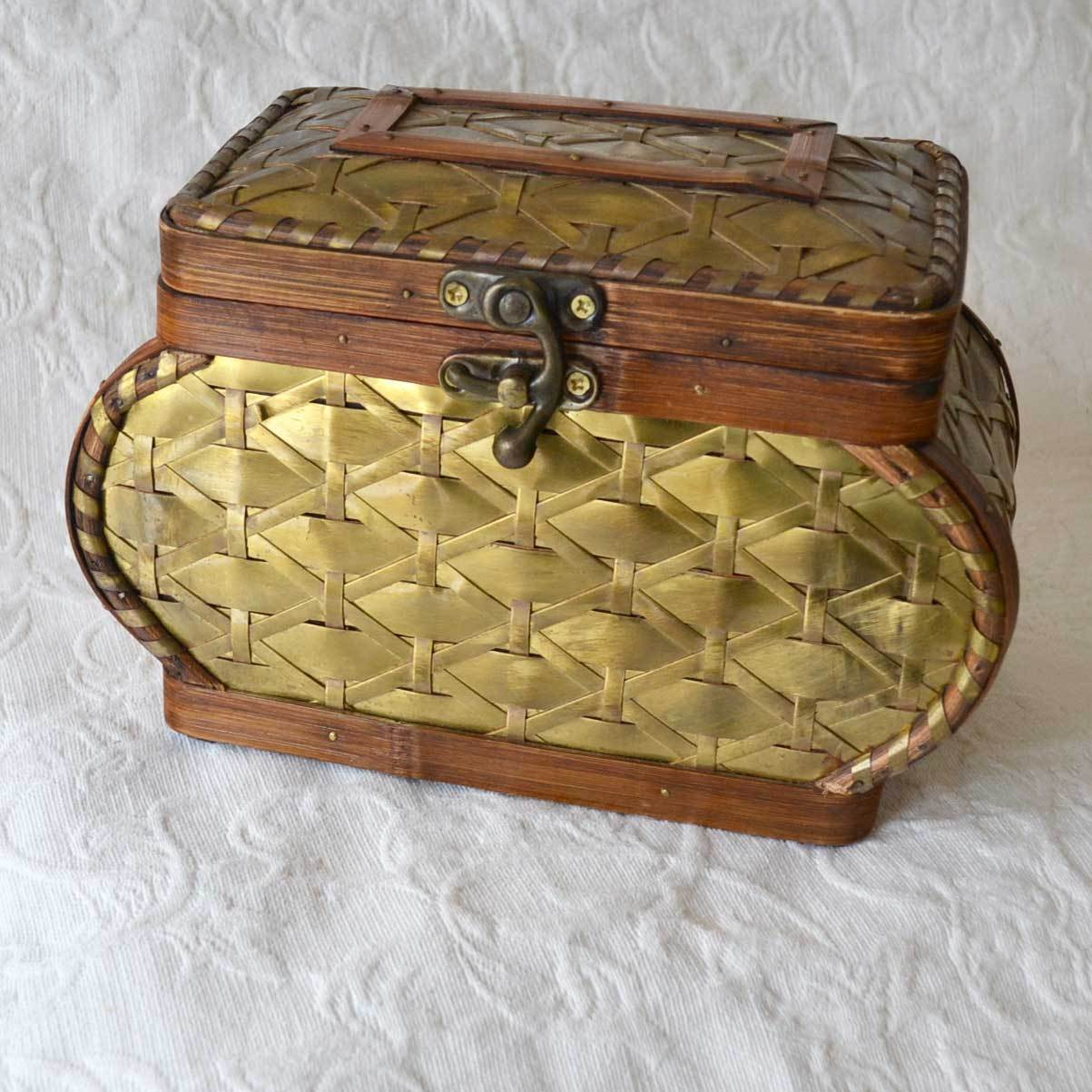 Woven Wood and Brass Sewing Box