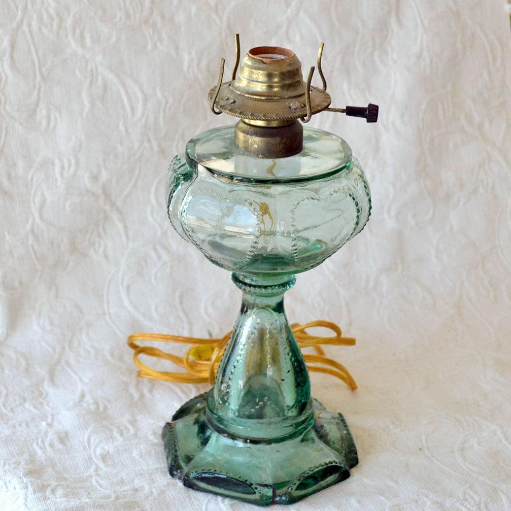 Oil Lamp Hearts Depression Glass Aqua Blue Color Sold On