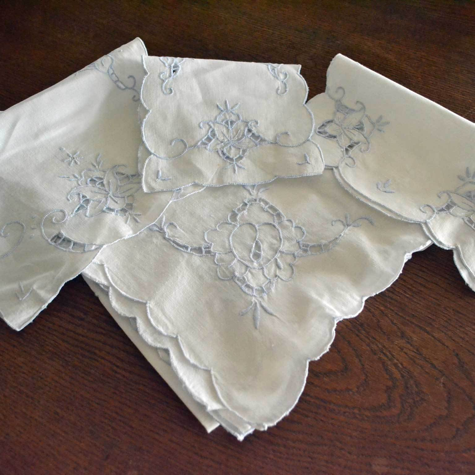 Small Tablecloth and Three Pieces  Blue  White Cut Work