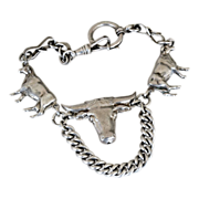 800 Silver Watch Fob Chain Steer Buckles
