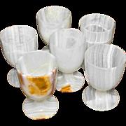 Six Onyx Stone Goblets Liqueur Cordial