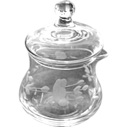 Etched Crystal Creamer Pitcher Lidded