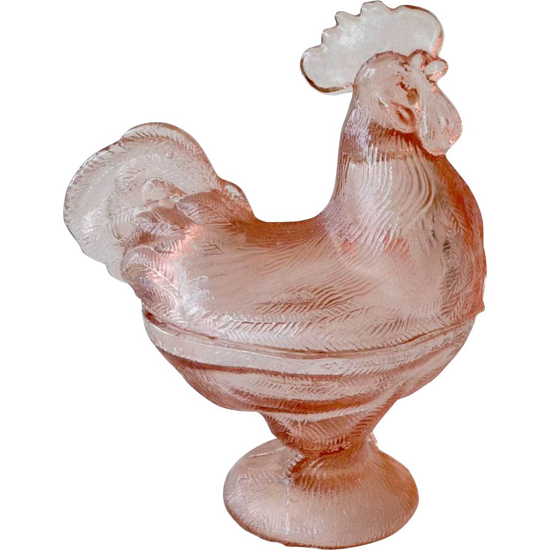 Pink Covered Chicken  Glass Dish