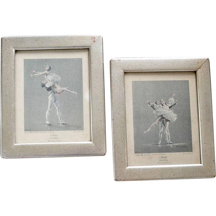 Pair Ballet Prints by Cecil Golding Vintage