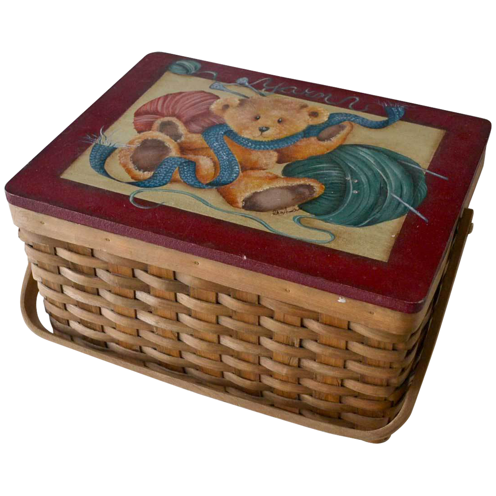 Woven Yarn Basket : Woven yarn or sewing basket hand painted teddy bear red