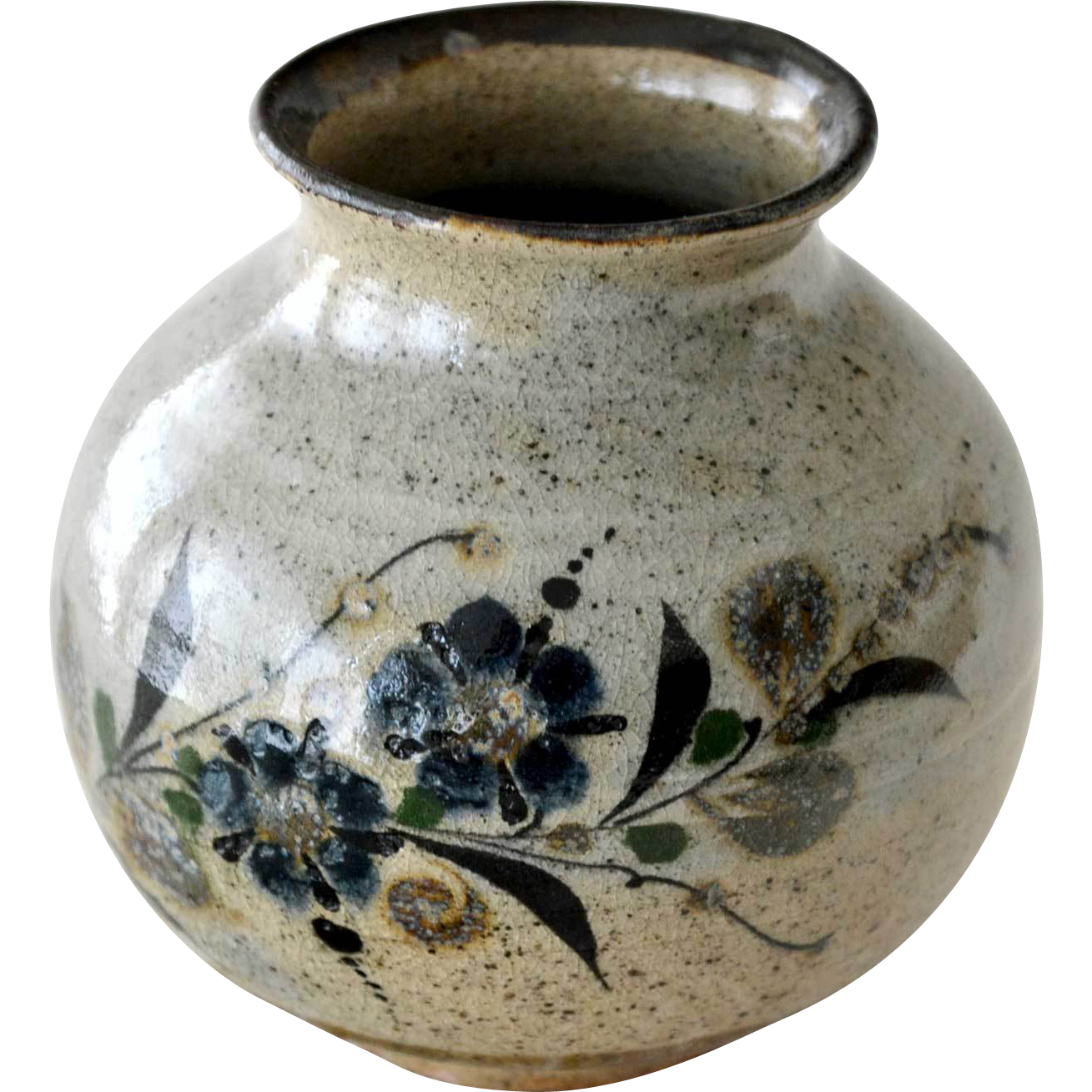 Stoneware Vase Jug Butterfly Flowers