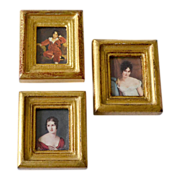Three Miniature Italian Prints in Hand Made  Wood Frames