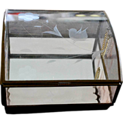 Glass Jewelry Box Etched Bird Pale Pink Wavy Glass