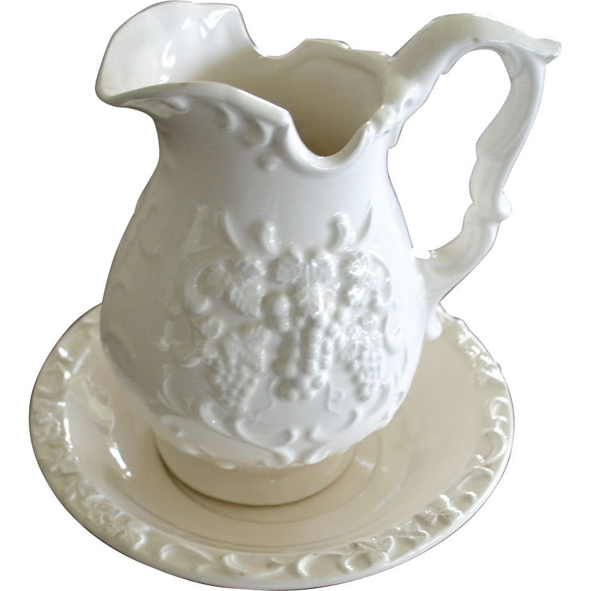 Pitcher and Tray White Grape Pattern