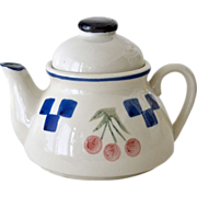 Small Pottery Teapot with Cherry Design