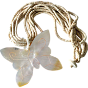 Bone Necklace with Huge MOP Butterfly Pendant