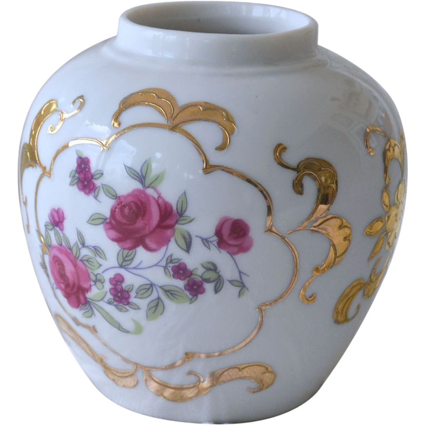 Porcelain Vase with Roses and Heavy Gold Gilt