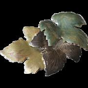 Large Enamel Leaf Pin Brooch