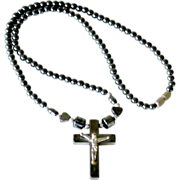 Necklace with Hematite Beads and Cross