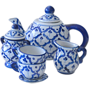 Childs Tea Set Blue and White Porcelain