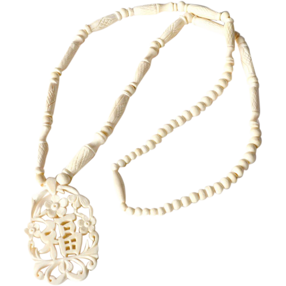 Vintage Carved Bone Bead Necklace with Pendant