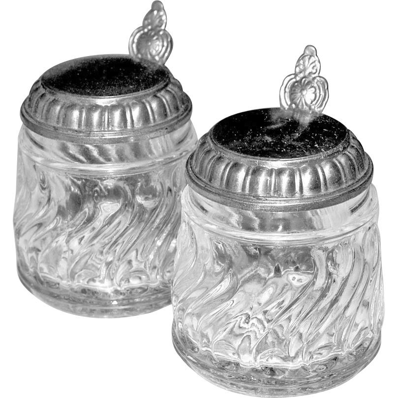 Two Miniature Glass Steins Pitchers or Jars