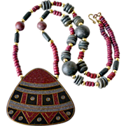 Wood Ethnic Style Pendant Necklace