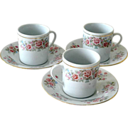 Three Porcelain  Cups and Saucers Roses