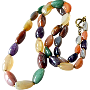 Necklace Large Stones Multicolor 30 Inches