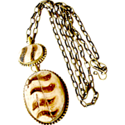 Huge Brass and Bone Pendant Necklace 32 Inches