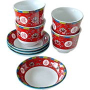 Red Oriental Tea Cups and Saucers