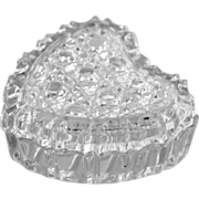 Glass Heart Trinket Box Heavily Cut Crystal