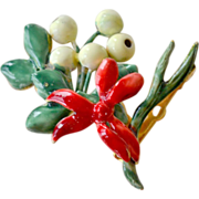 Sandor Deep Red Enamel Bouquet Pin Brooch