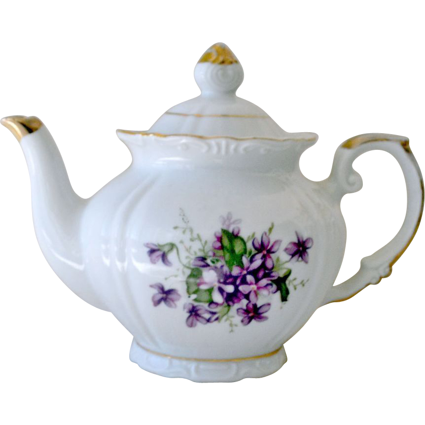 Teapot with Violets Porcelain and Gold