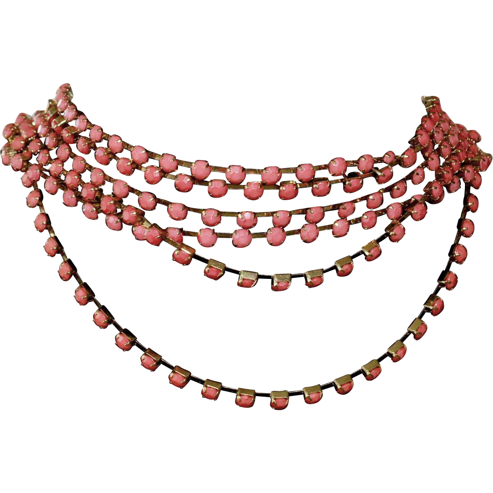 Coral Color Six Strand Necklace From Rubylane-sold On Ruby
