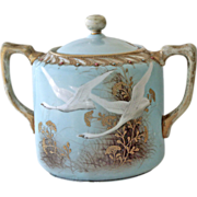 Rare Nippon Aqua Flying Swan Porcelain Sugar Bowl