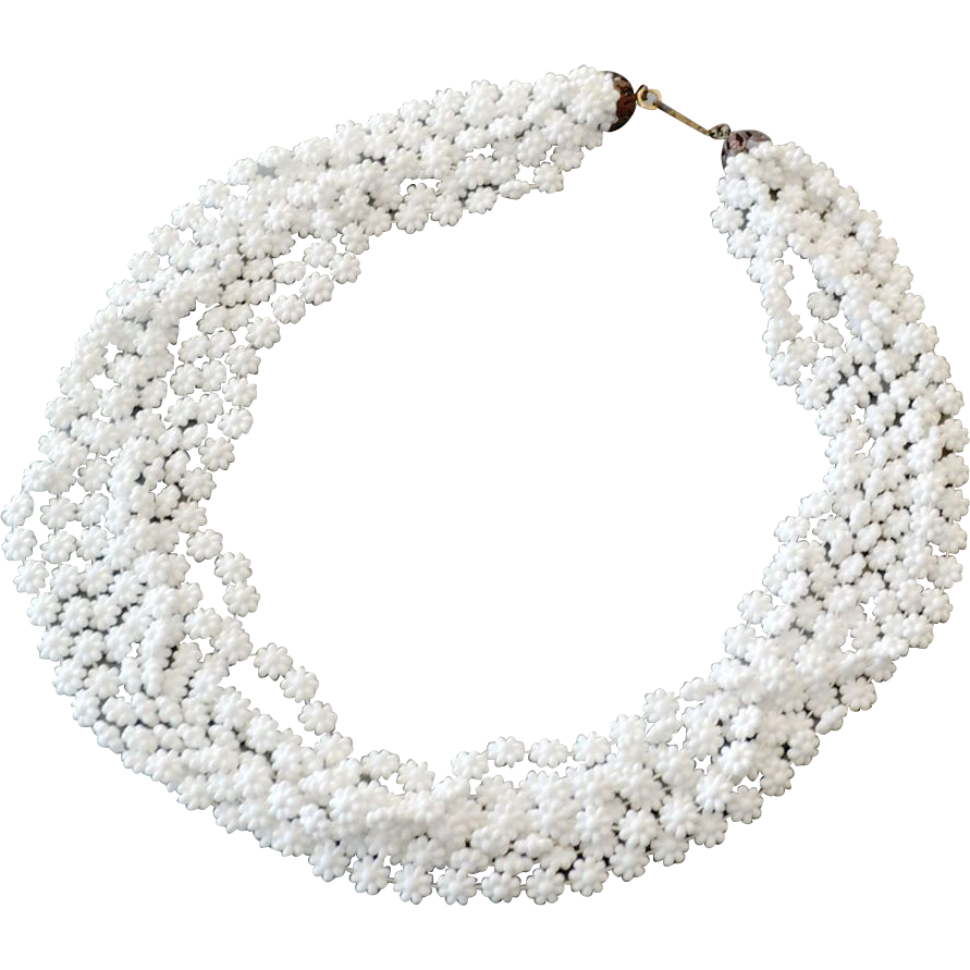 Necklace Multistrand Frothy Daisies Snow White